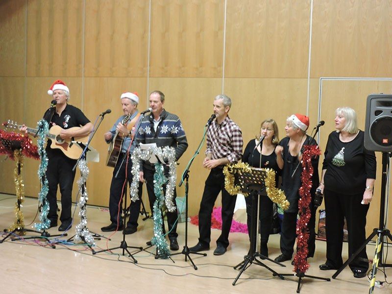 Our first performance with microphones - Roffey Millennium Hall, 8 December 2016