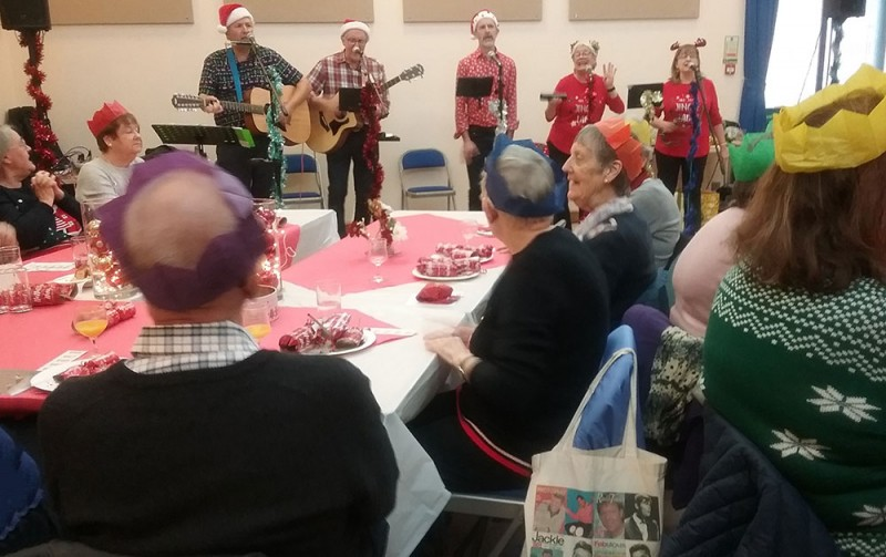 Singing at the North Horsham Friendship Group's Christmas party 2019