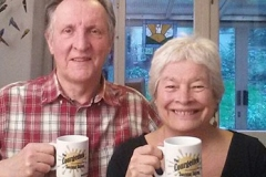 Mike and Faith share a cup of courgette juice